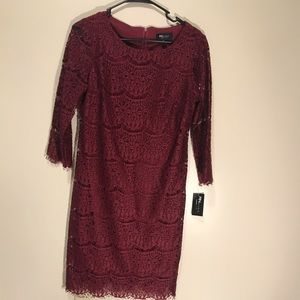Wine lacy cocktail dress